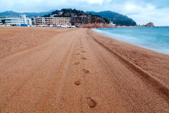Tossa de Mar. City beach in the morning Royalty Free Stock Photography
