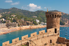 Tossa de Mar. Costa Brava, Spain. Fortress tower at Tossa de Mar. Costa Brava, Spain royalty free stock photos
