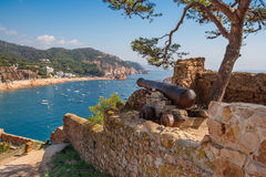Tossa de Mar. Costa Brava, Spain. Old cannon in Fortress at Tossa de Mar. Costa Brava, Spain royalty free stock image