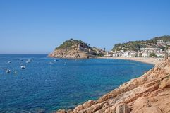 Tossa-de-Mar,Costa Brava,Spain. Beach and Village of tossa-de-mar (Tossa de Mar)at costa brava,catalonia,spain Stock Photography