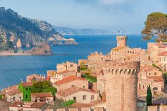 Tossa de Mar, Costa Brava, Spain. View of the sea and old town. TOURISM royalty free stock image
