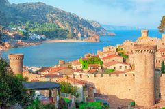 Tossa de Mar, Costa Brava, Spain. View of the sea and old town. Tourism royalty free stock photography