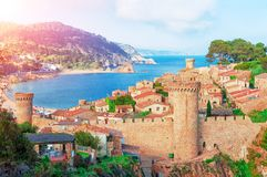 Tossa de Mar, Costa Brava, Spain. View of the sea and old town. Tourism stock photos