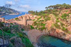 Tossa de Mar, Costa Brava, Spain. View of the sea and old town. Tourism royalty free stock photo