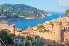 Tossa de Mar, Costa Brava, Spain. View of the sea and old town. Tourism stock image