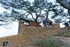 Tossa de Mar, España, agosto de 2018 Familia en la pared de una fortaleza medieval vieja cerca del cañón imagenes de archivo