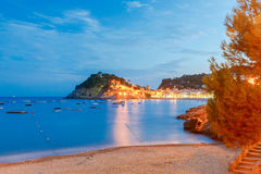 Tossa de mar. Fortress at night. Royalty Free Stock Photo