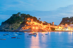 Tossa de mar. Fortress at night. Royalty Free Stock Photography