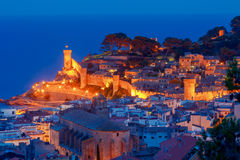 Tossa de mar. Fortress at night. Stock Images