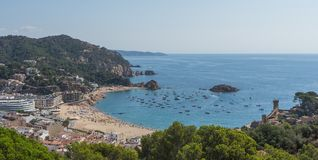 Tossa de Mar seaside town on Costa Brava in Catalonia, Spain, to Royalty Free Stock Photos