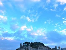 Tossa de Mar, Spain. Sky, freedom, medieval fortification and fairytale. Tossa de Mar, Costa brava, Spain. Medieval fortification and fairytale, blue sky and royalty free stock photos