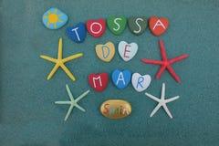 Tossa de Mar, Spain, souvenir with multicolored stones Royalty Free Stock Photos