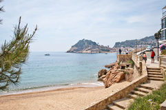 Tossa de Mar-Strand, Costa Brava Stockfotos