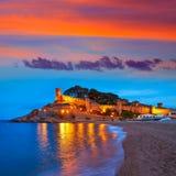 Tossa de Mar sunset in Costa Brava of Catalonia. Spain Castle and beach Stock Photo