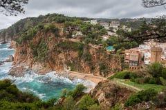 Tossa de Mar Town and Coastline Stock Photography
