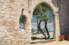 Tossa De Mar view from ruined old church. Costa Brava , Spain. View of Tossa De Mar from ruined ancient church. Costa Brava , Spain royalty free stock image