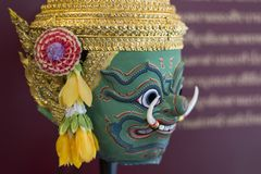 Tossakan or Ravana Khon Mask for Thai traditional dance. Khon is a genre of dance drama from Thailand. It is traditionally performed solely in the royal court Royalty Free Stock Photography