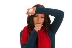 Tosse caucasica malata della donna isolata sopra fondo bianco fotografia stock