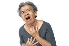 Tosse della donna anziana su fondo bianco fotografie stock