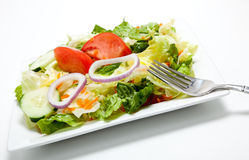 Tossed salad on a plate on a white background Royalty Free Stock Photography