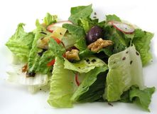 Tossed salad on a white plate. Fresh tossed green salad with walnuts, radish and flax seeds on a white plate Royalty Free Stock Photography