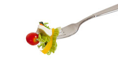 Tossed sald on a fork with a white background Royalty Free Stock Photos