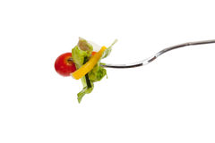 Tossed sald on a fork with a white background Stock Photography