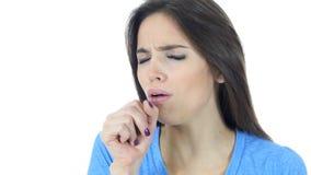 Tossendo, donna malata che soffre dalla tosse, fondo bianco immagini stock