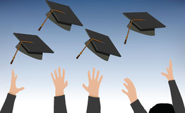 Tossing of Graduation Cap - Black Mortarboard Stock Image