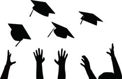 Tossing of Graduation Cap - Black Mortarboard Royalty Free Stock Photo