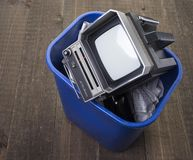 Tossing out an old portable television Royalty Free Stock Photos