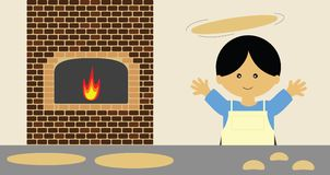 Tossing pizza. Chef making and tossing pizza Royalty Free Stock Images