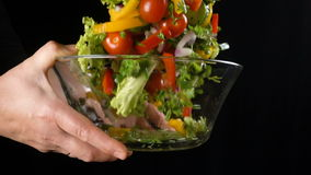 Tossing vegetables in a glass salad bowl, slow motion stock footage