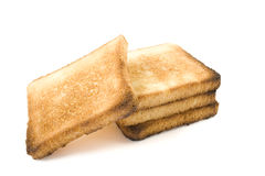Tost. Three slices of bread on a white background Royalty Free Stock Photo