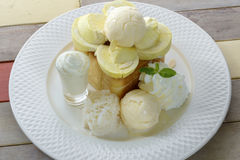 Tost top with durian and eat with durian icecream Stock Image