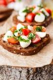 Tostada con el tomate y la mozzarella Fotos de archivo