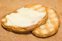 Tostada con mantequilla Fotos de archivo