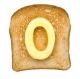 Tostada con número de la mantequilla imagenes de archivo