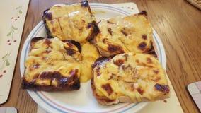 Tostada con queso derretido Imágenes de archivo libres de regalías