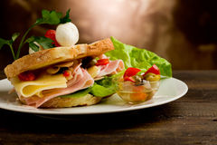 Tostada con queso y el jamón Foto de archivo libre de regalías