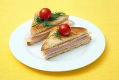 Tostada con queso y el jamón Imágenes de archivo libres de regalías