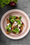 Tostada de la comida de Heatly con la cebolla y la mozzarella imagen de archivo