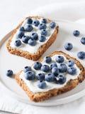 Tostada del arándano en la comida sana del desayuno Foto de archivo libre de regalías