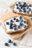 Tostada del arándano en la comida sana del desayuno Fotos de archivo libres de regalías