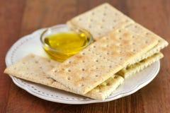 Tostadas con aceite de oliva Fotografía de archivo