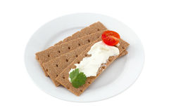 Tostadas con el queso poner crema Imagen de archivo libre de regalías