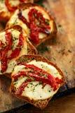 Tostadas con queso ahumado de la leche de ovejas, tomates secados al sol e hierbas Fotos de archivo libres de regalías