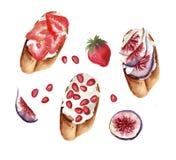Tostadas dulces fijadas con las frutas y el queso cremoso libre illustration