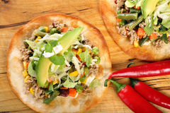 Tostadas with ground beef and vegetables on wooden background Stock Photography