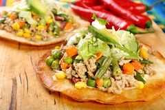 Tostadas with ground beef and vegetables Royalty Free Stock Photo